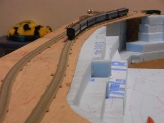 諏訪峡セクション その2 線路敷設・スタイロ貼り